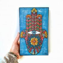 חמסה - דגם קנבס טורקיז עם אבני פסיפס