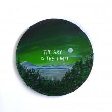 לילה ירוק - ציור על קנבס עגול