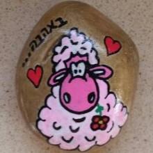 כבשה מתוקה על חלוק נחל קטן - מגנט