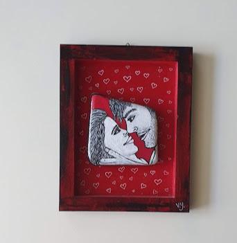 זוג אדום שחור - מסגרת עץ+אבן שלג