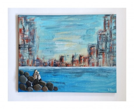 נוף עירוני - ציור אקרילי על קנבס משולב בחלוקי נחל